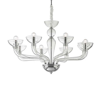 Подвесная люстра Ideal Lux CASANOVA SP8 TRASPARENTE 044255 - фото и цена в Гродно